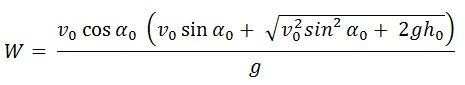 Formel für die Wurfweite