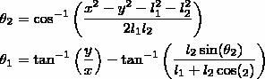 \begin{align*} \theta_2 &= \cos^{-1}\left(\dfrac{x^2 - y^2 -l_1^2 - l_2^2}{2 l_1 l_2} \right)\\ \theta_1 &= \tan^{-1}\left(\dfrac{y}{x}\right) - \tan^{-1}\left(\dfrac{l_2 \sin(\theta_2)}{l_1 + l_2 \cos(\tehta_2)}\right) \end{align*}